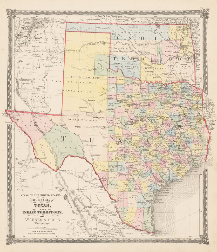 1875 County Map of Texas and Indian Territory