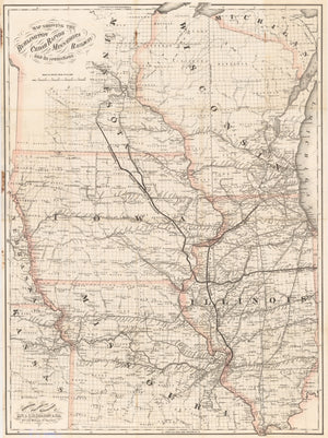 1868 Map Showing the Burlington Cedar Rapids and Minnesota Railway and its Connections
