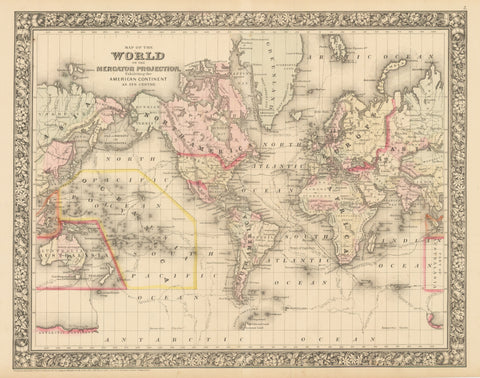 1860 Map of the World on the Mercator Projection, Exhibiting the American Continent As Its Centre