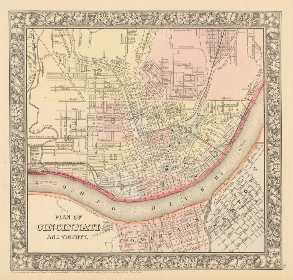 1860 Plan of Cincinnati and Vicinity