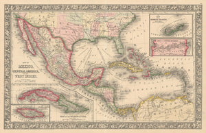 North America / Mexico / Caribbean Map of Mexico, Central America and the West Indies