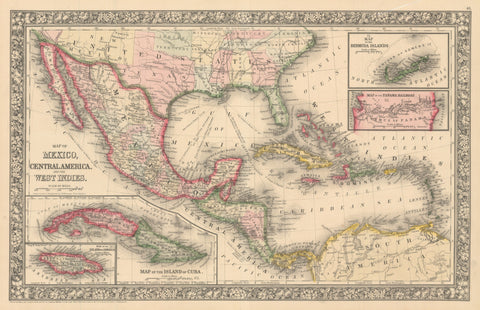 1860 Map of Mexico, Central America and the West Indies