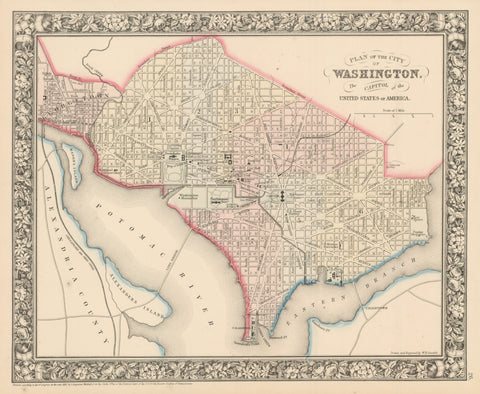 1860 Plan of the City of Washington. The Capitol of the United States of America.