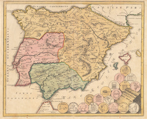 Hispania Vetus By:  Weigel Date: 1720 (Published) Nuremberg Size: 12.5 x 15.4 inches (31.8 cm x 39 cm) - Antique, Vintage, Spain, Portugal, Weigel