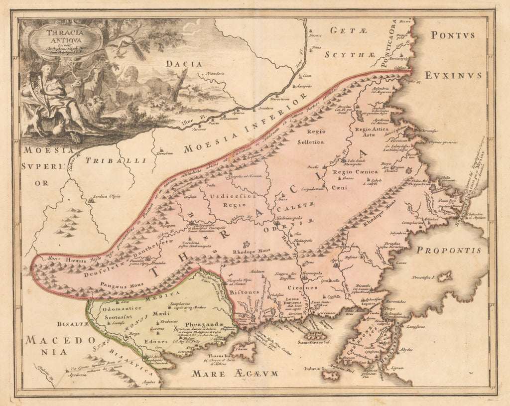 Thracia Antiqua By: Johann Christoph Weigel Date: 1720 (Published) Nuremberg Size: 12 x 15.25 inches - Antique, Vintage, Greece, Balkans, Thrace