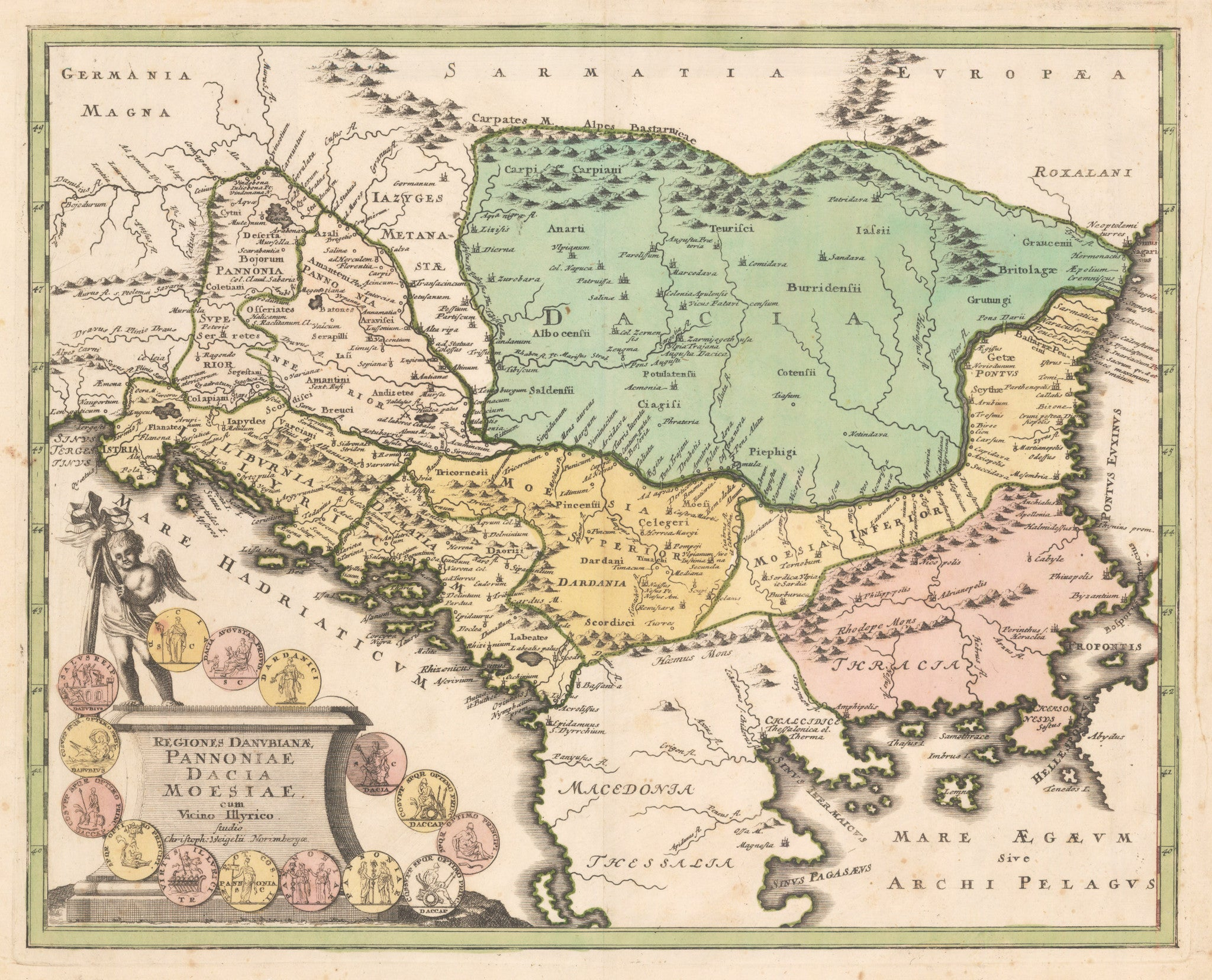 Regiones Danubianae, Pannoniae, Daciae, Moesiae cum Vicino By: Johann Christoph Weigel Date: 1720 (Published) Nuremberg Size: 12 x 15.25 inches - Antique, Vintage, Balkans, Dacia, Macedonia