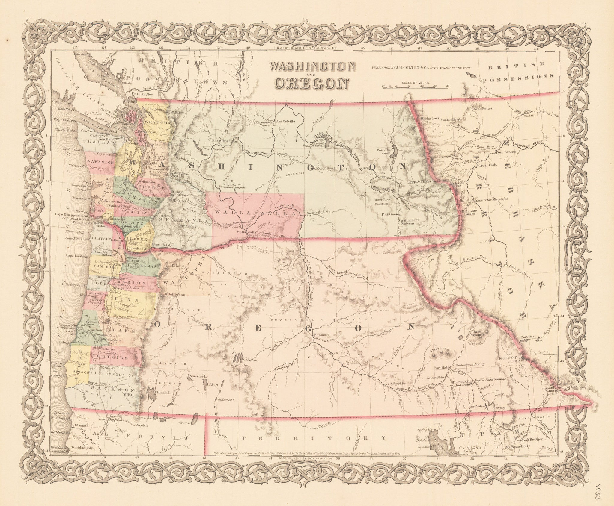 Antique, Vintage, Rare, map of Washington and Oregon by Colton 1856