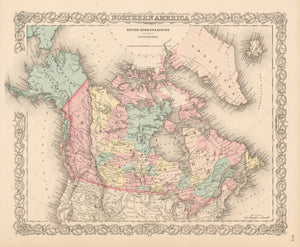 nwcartographic.com Antique Map of Canada - Northern America British, Russian and Danish possessions in North America, Colton, 1856