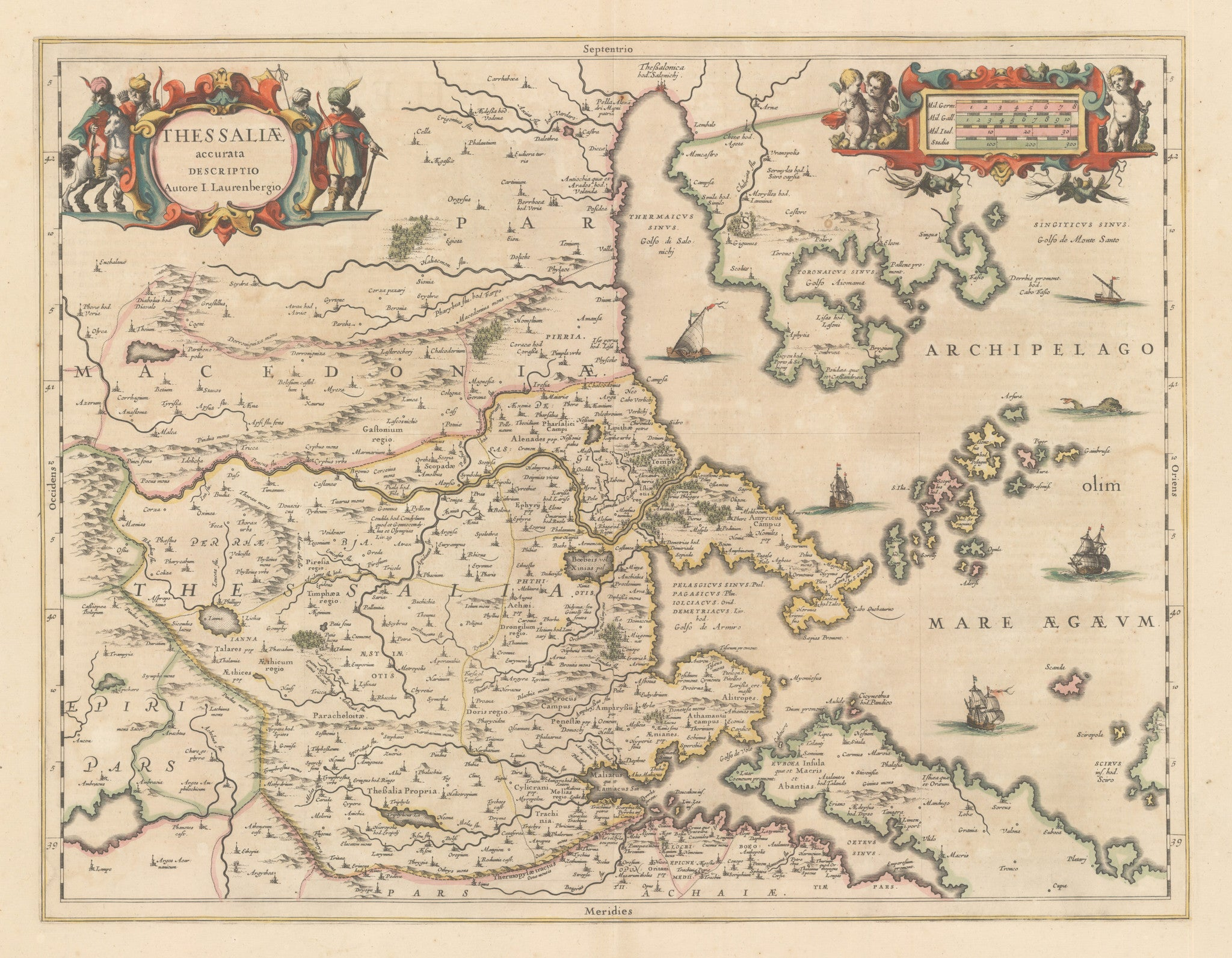nwcartographic.com: Antique Map of Greece -Thessaliae accurata Descriptio Autore I. Laurenbergio. By: Jansson 1650