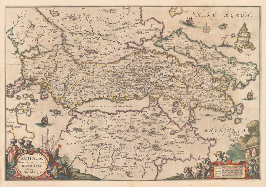nwcartographic.com : Antique Map of Greece - Achaiae Noua & Descriptio Autore I. Laurenbergio By: Jansson 1650