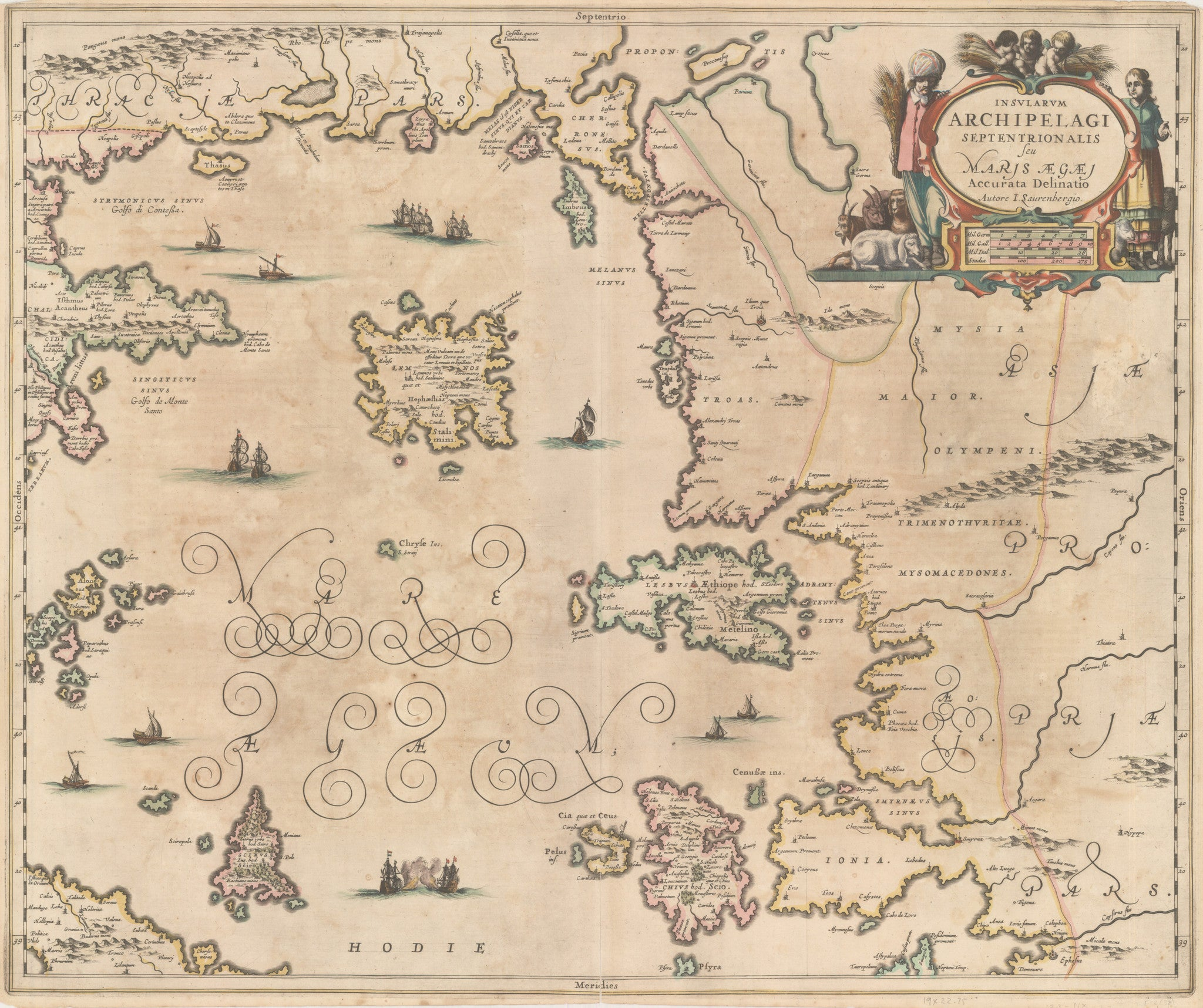 nwcartographic.com: Antique Map of Greece - Insularum Archipelagi Septentrion Alis Seu Maris Aegaei  By: Jansson Date: 1650