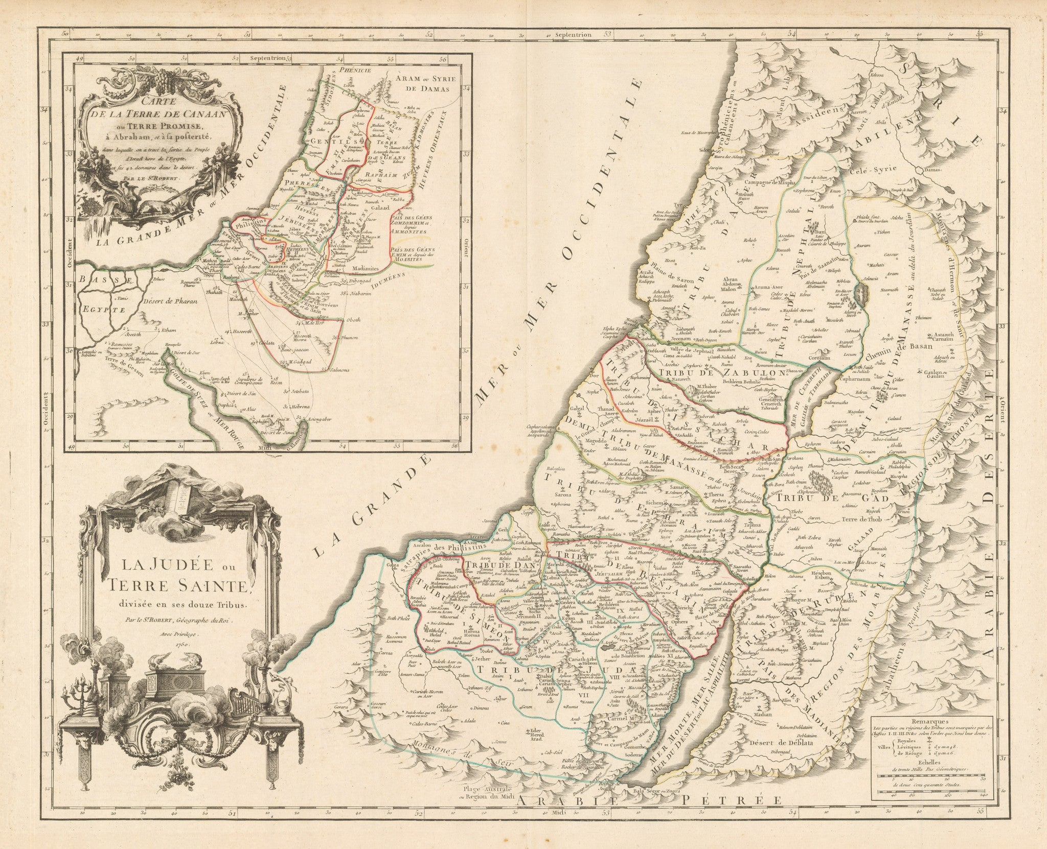 nwcartographic.com: Carte de la Terre de Canaan ou Terre Promise a Abraham... By: Vaugondy Date: 1657 - Antique map of the holy land showing the twelve tribes