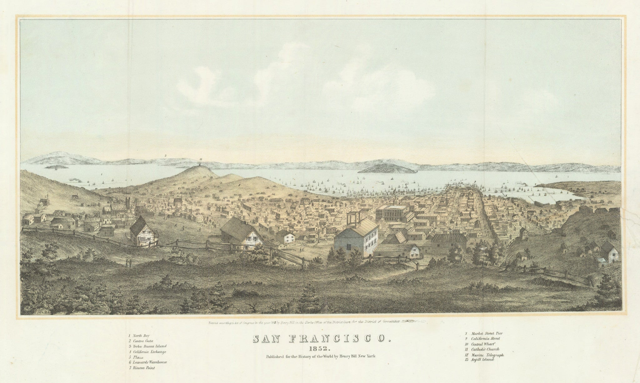 Antique Print of San Francisco By: Henry Bill Date: 1852