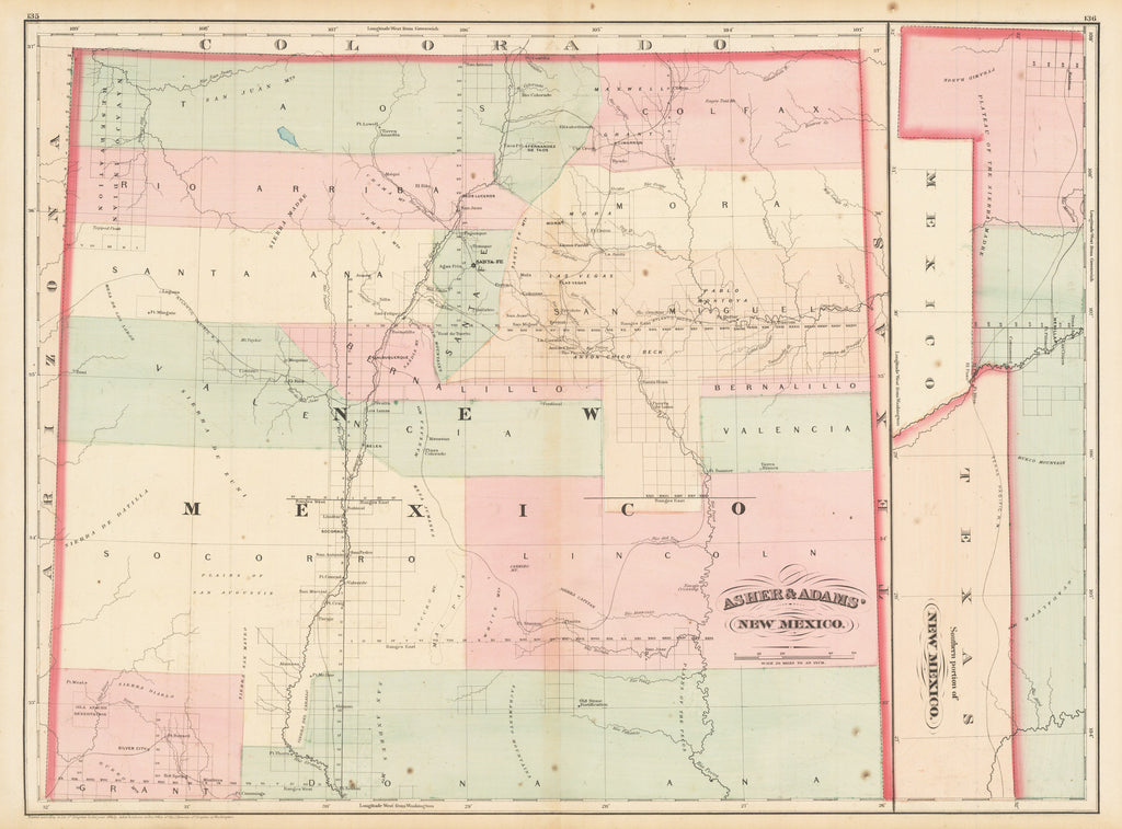 HJBMaps.com: Asher & Adams New Mexico Date: 1874 Dimensions:16.5 x 22.5 inches (42 cm x 57.15 cm)