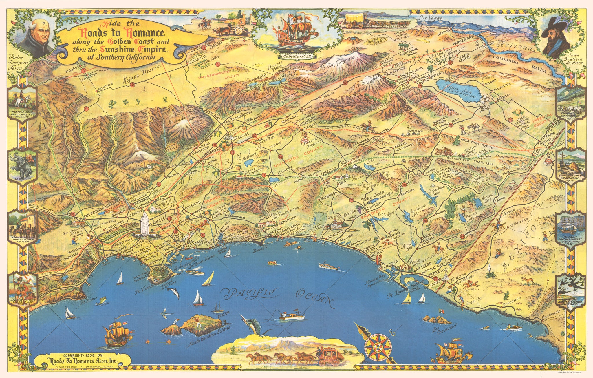 Ride the Roads to Romance along the Golden Coast and thru the Sunshine Empire... Date: 1958 - Bird's Eye View / Pictorial Map of Southern California