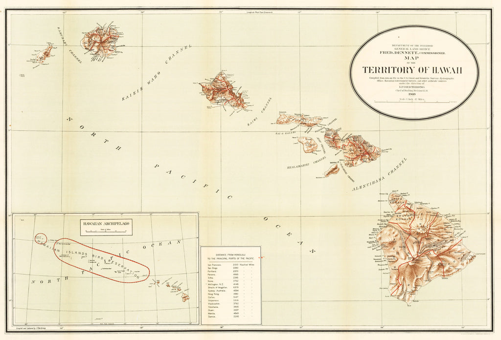 1909 … Map of the Territory of Hawaii…