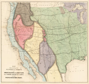 1873 Map Illustrating the System of Parcs, the Domestic Relations of the Great Plains, the North American Andes, and the Pacific Maritime Front
