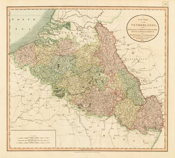 A New Map of the Netherlands also of that part of Germany Westward of the Rhine as ceded to the French and Divided into their several Departments from the Latest Authorities