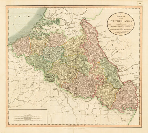 1804 A New Map of the Netherlands also of that part of Germany Westward of the Rhine as ceded to the French and Divided into their several Departments from the Latest Authorities