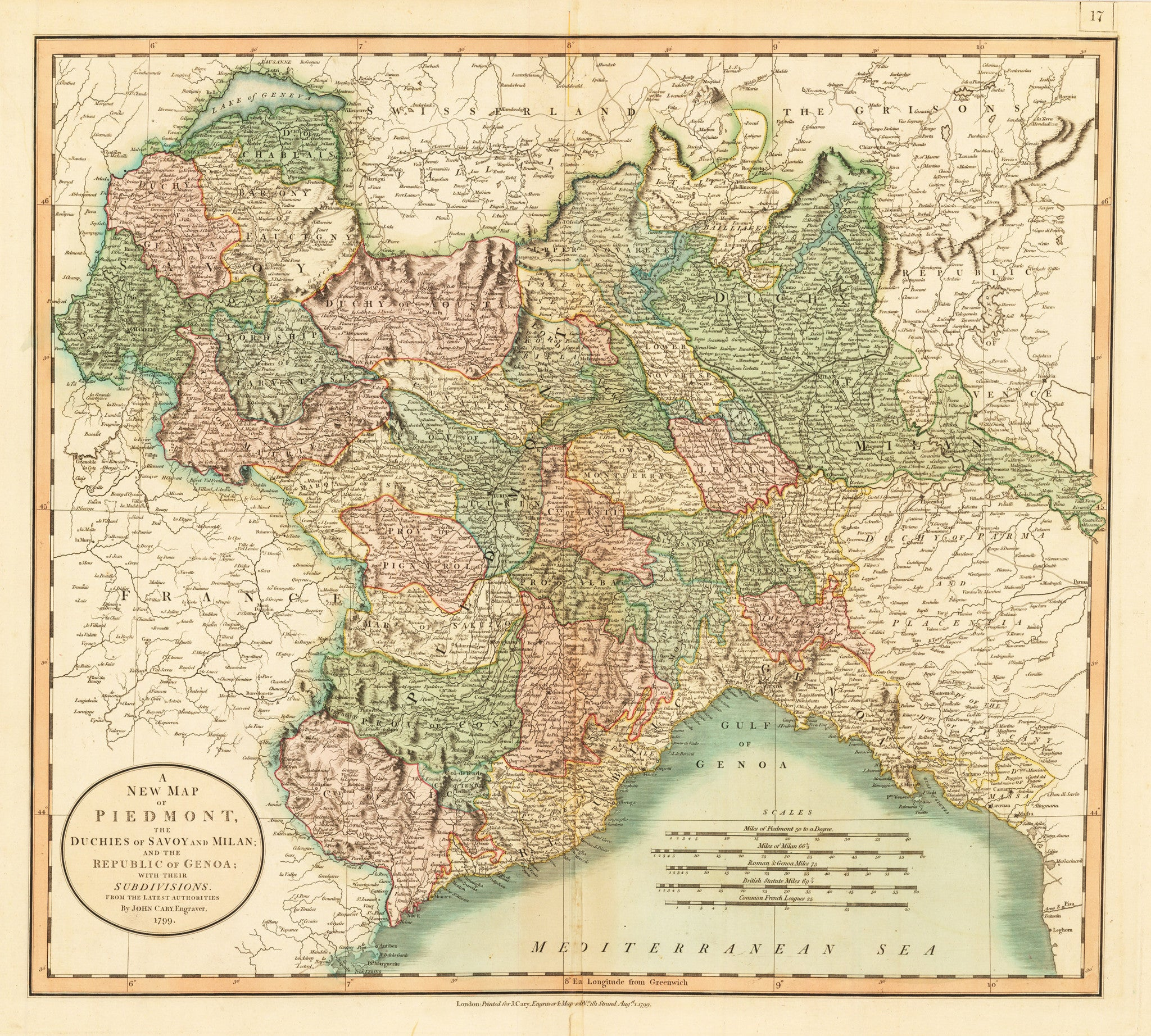 A New Map of Piedmont, the Duchies of Savoy and Milan and the Republic of Genoa: With Their Subdivisions From the Latest Authorities