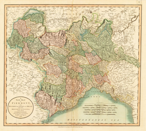 1799 A New Map of Piedmont, the Duchies of Savoy and Milan and the Republic of Genoa: With Their Subdivisions From the Latest Authorities