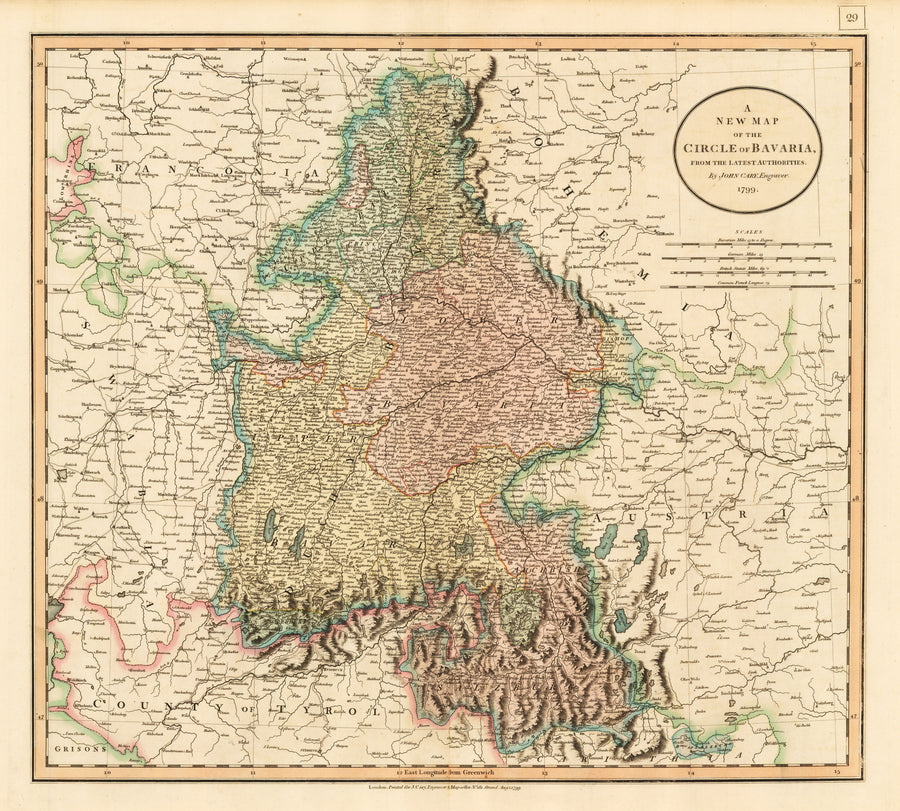 A New Map of the Circle of Bavaria By: John Cary Date: 1799 (Dated) London Size: 18 x 20 inches (45.7 cm x 50.8 cm) - Authentic, Rare, Antique, Vintage, Map