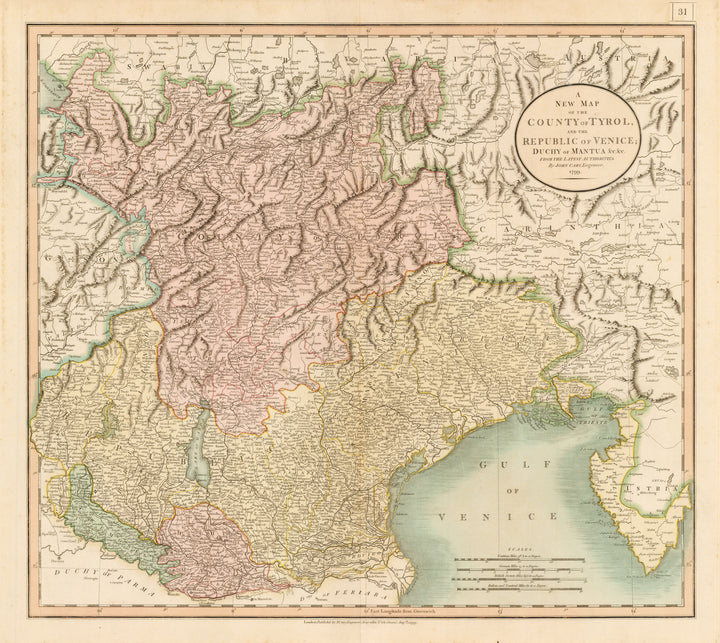 A New Map of the County of Tyrol, and the Republic of Venice; Duchy of Mantua &c, &c. From the Latest Authorities By John Cary Date: 1799 Size: 18 x 20 inches