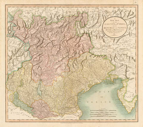 1799 A New Map of the County of Tyrol, and the Republic of Venice; Duchy of Mantua &c, &c. From the Latest Authorities By John Cary, Engineer.