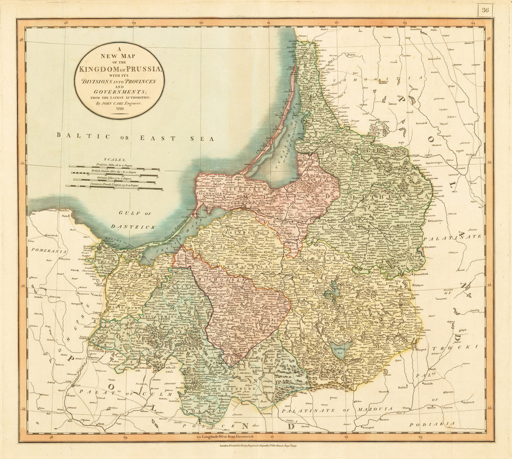 1799 A New Map of the Kingdom of Prussia with its Divisions into Provinces and Governments from the Latest Authorities