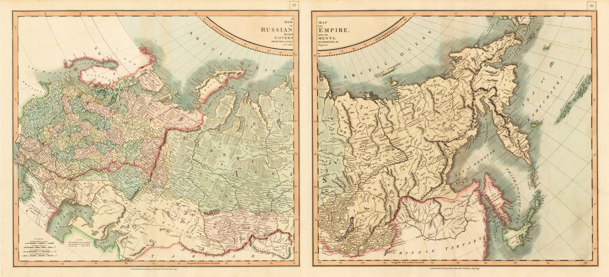 1799 A New Map of the Russian Empire Divided into its Governments From the Latest Authorities