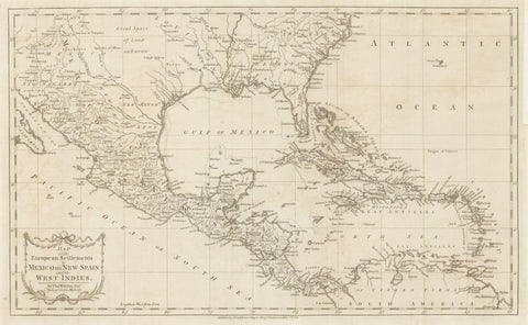 3) Map of the European Settlements in Mexico or New Spain and the West Indies.