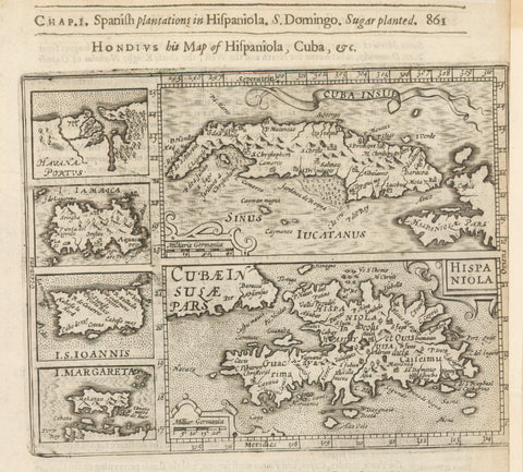 1625 Hondius his Map of Hispaniola, Cuba, &c.