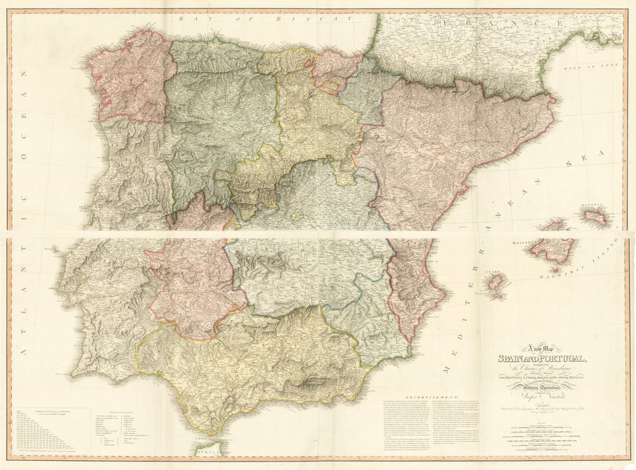 A New Map of Spain and Portugal, exhibiting the Chains of Mountains With their Passes the principal & cross roads, with other details requisite for the Intelligence of Military Operations compiled by Jasper Nantiat