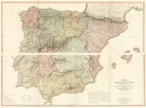 9) A New Map of Spain and Portugal, exhibiting the Chains of Mountains With their Passes the principal & cross roads, with other details requisite for the Intelligence of Military Operations compiled by Jasper Nantiat