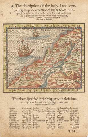 1599 The description of the holy Land conteining the places mentioned in the foure Euangelists…