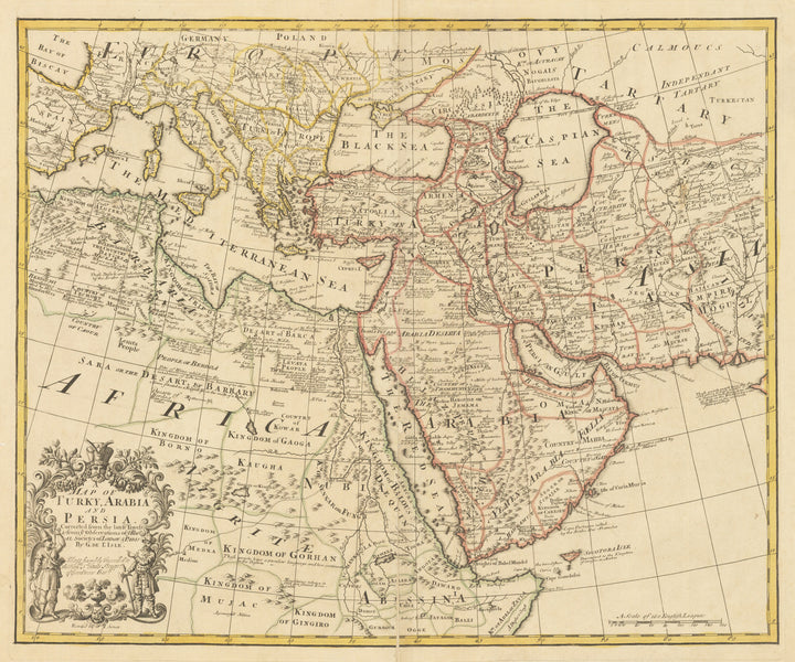 Map of Turky, Arabia and Persia. Corrected from the latest Travels & from ye Observations of ye Royal Societys of London & Paris by G. de L'Isle