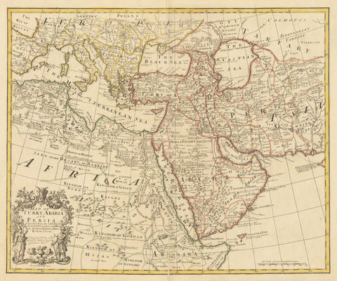 1721 Map of Turky, Arabia and Persia. Corrected from the latest Travels & from ye Observations of ye Royal Societys of London & Paris by G. de L'Isle
