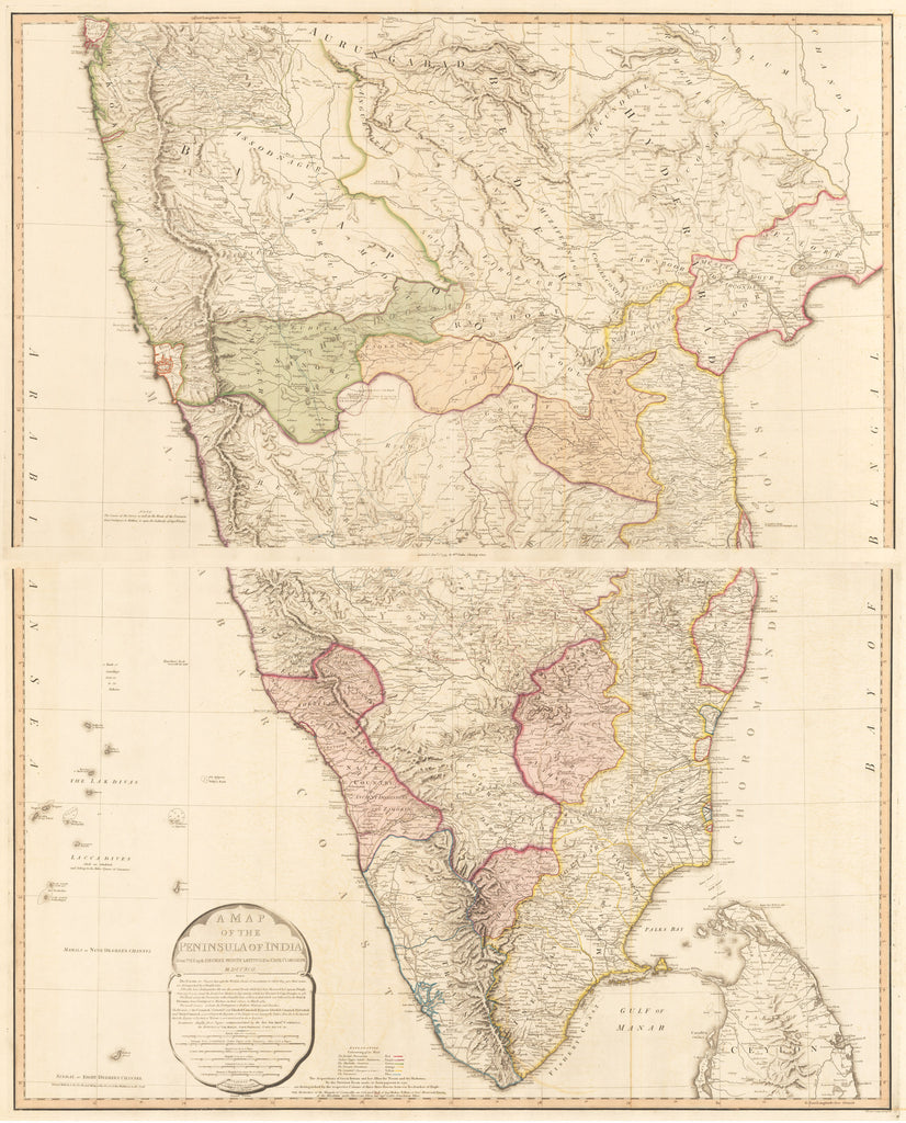 1795 A Map of the Peninsula of India, from the 19th degree north latitude to Cape Comorin MDCCXCII