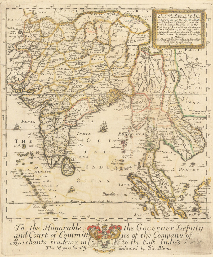 1667 / 1670 A General Mapp of the East Indies Comprehending the Estats or Kingdoms of the Great Mogol…