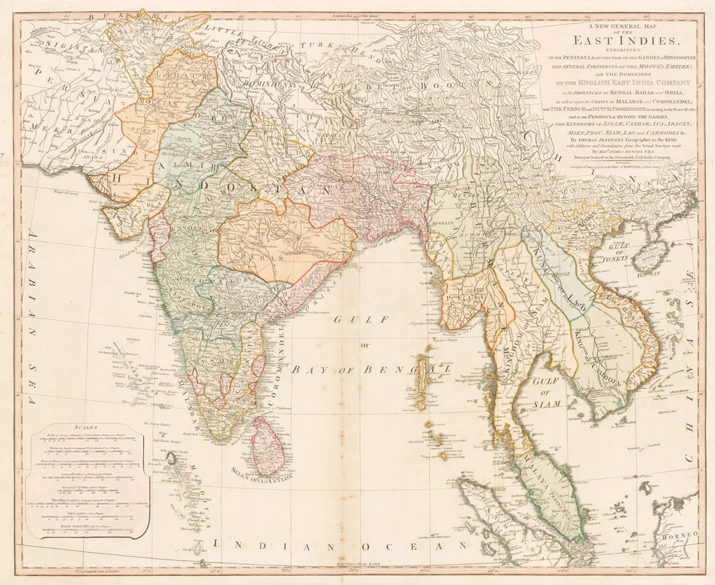 A New General Map of the East Indies. Exhibiting in the Peninsula on this side of the Ganges or Hindoostan the Several partitions of the Mogul's Empire…