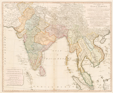 91) A New General Map of the East Indies. Exhibiting in the Peninsula on this side of the Ganges or Hindoostan the Several partitions of the Mogul's Empire…