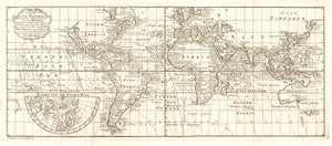 Antique Map of the World - Nieuwe en Nette Zeekaart van de Geheele Waareld By:  O. Lindemann Date: 1775 Dimensions: 8 x 18.5 inches (California as an island)