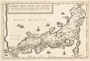 Carte Des Isles Du Iapon Esquelles Est Remarque La Route Tant Par Mer Que Par Terre By: Jean Baptiste Tavernier Date: 1692 - Authentic Antique map of Japan
