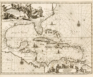 Insulae Americanae in Oceano Septentrionali cum Terris adiacentibus By: John Ogilby 1671  - Authentic, Rare, Antique, Vintage, Map of the Caribbean, Florida, Mexico, etc.