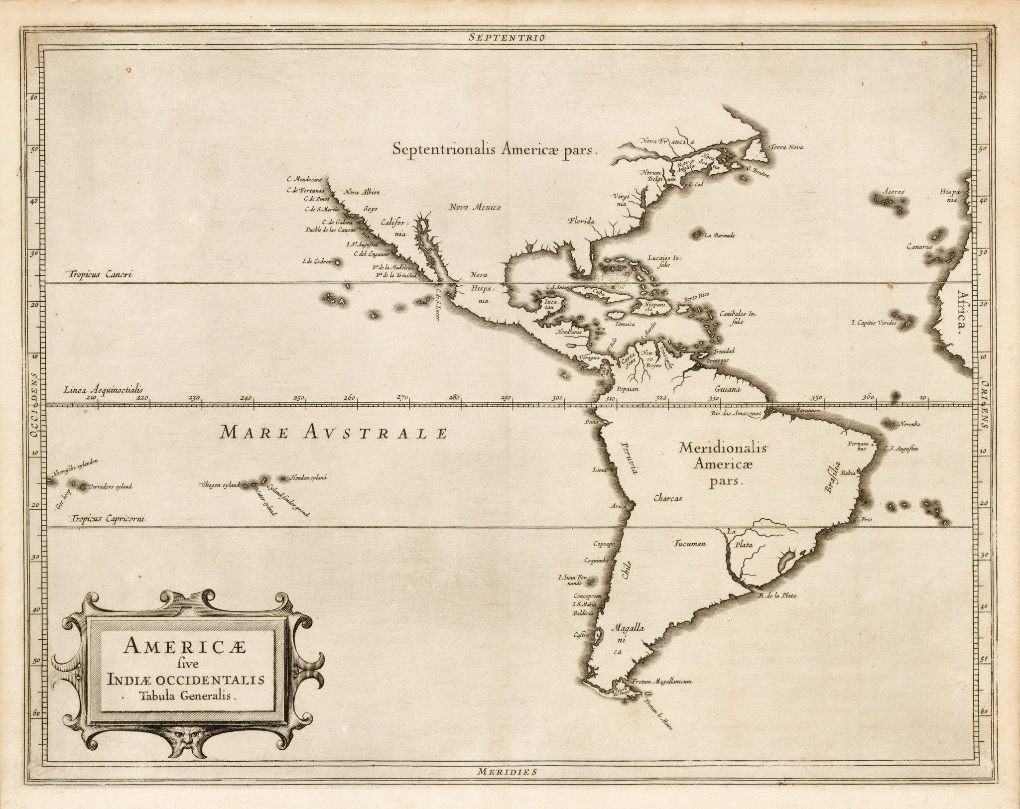 HJBMaps: Americae sive Indiae Occidentalis Tabula Generalis By: De Laet Date: 1625 (Published) Amsterdam Dimensions: 10.75 x 14 inches