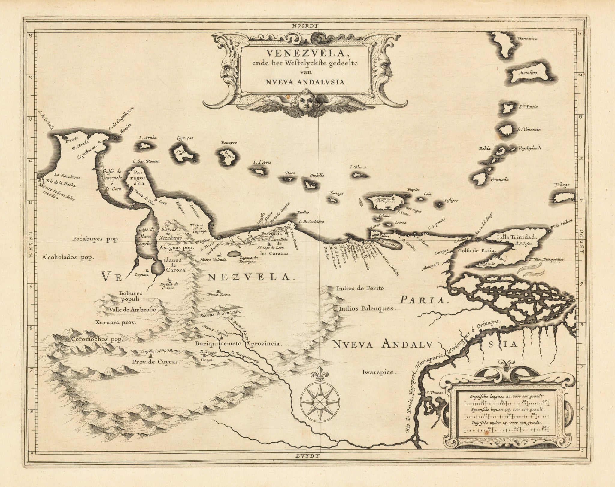 Venezuela ende het Vestelyckste gedeelte van Nveva Andalusia By: De Laet Date: 1630 Size: 11 x 14 inches - Antique Map of Venezuela and the Lesser Antilles