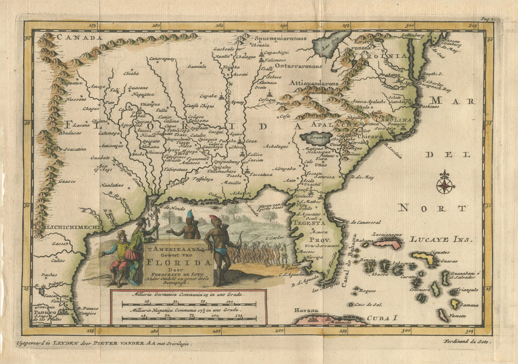 Amerikaans Gewest van Florida Door Ferdinand de Soto By: Van Der Aa Date: 1707 (Published) Leiden Size:  6 x 9 in - antique, map, Florida, Mississippi, South