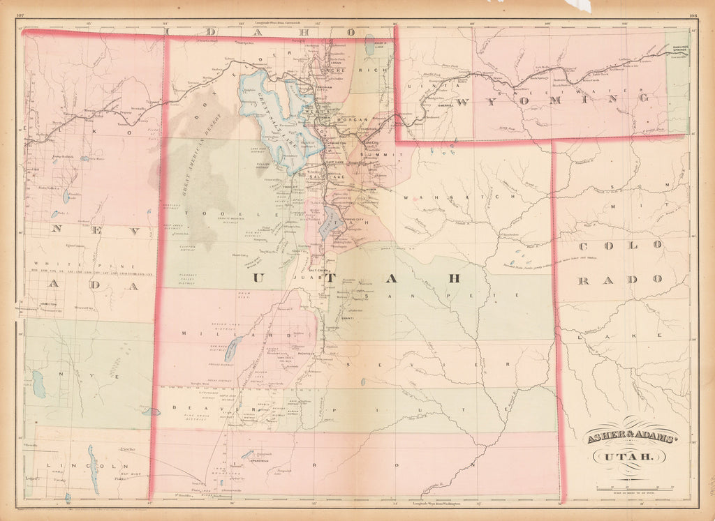 Asher & Adams Utah 1873 (Published) New York Size: 16 x 22.5 inches (40.6 cm x 57 cm) - Authentic, Rare, Antique, Vintage, Map of Utah