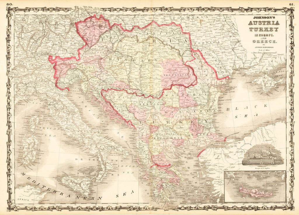 Johnson's Austria Turkey in Europe and Greece By: Johnson & Browning Date: 1861 (published) Size: 17 x 23.75 inches (43.18 cm x 60.33 cm)