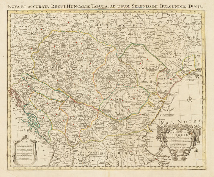 Nova et Accurata Regni Hungariae Tabula ... By: Convens and Mortier Date: 1730 Size: 19 x 22.5 inches - Antique, Vintage, Rare, Balkans, Eastern Europe